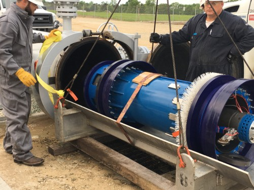 Inline's Speed Control Pig (SCP) being launched into a natural gas pipeline.